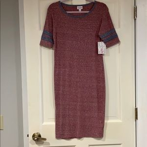 LuLaRoe red, white, and gray Julia dress S NWT